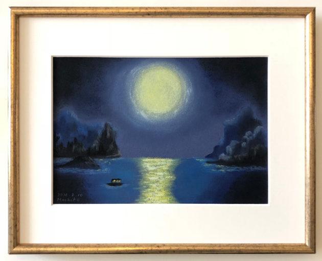 夜の湖の屋形船