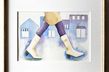白いレインブーツで歩く