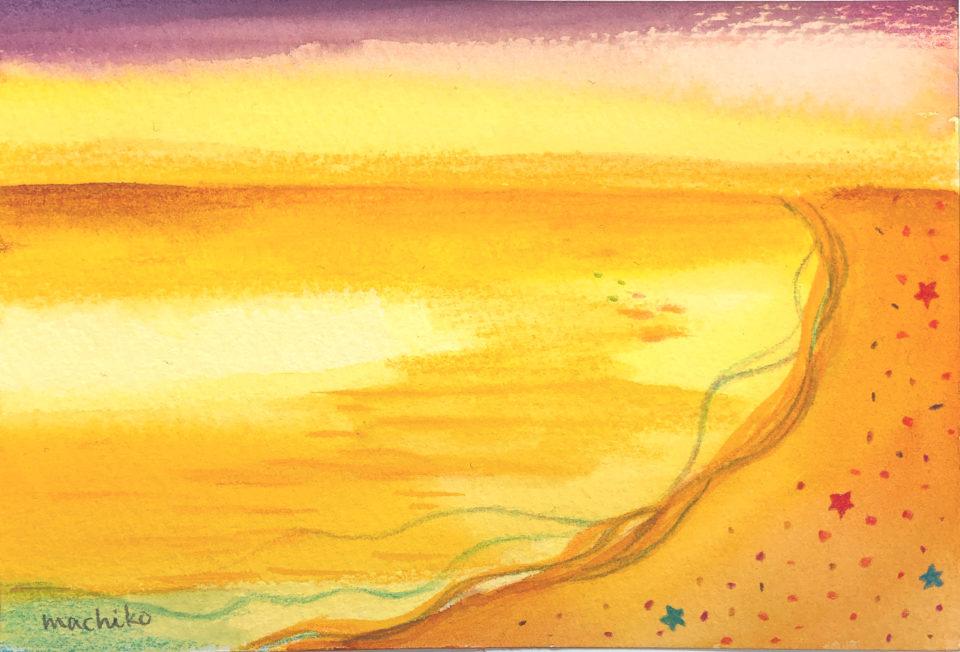 夕焼けのビーチ
